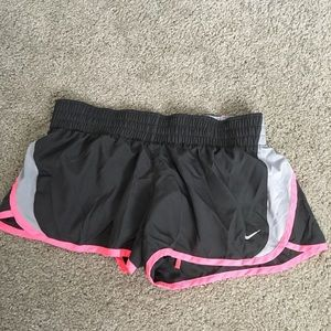 Nike grey and neon pink exercise shorts